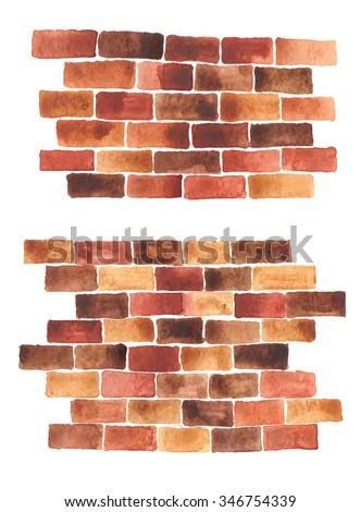 bricks wall watercolor background