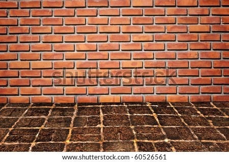 brickwall and old stone floor pattern #60526561