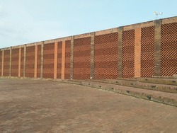 brickwall of mosque in centeal Java Indonesia, unique pattern of brickwall