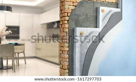 Brickwall thermal insulation by styrofoam with kitchen interior on background, 3d illustration