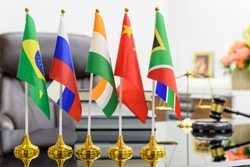BRICS economy and policies concept : Flags of BRICS or group of five major emerging national economy i.e Brazil, Russia, India, China, South Africa. BRICS members are all leading developing countries.