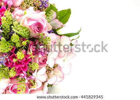 Bridal bouquet in bright colors with green handle isolated on white background #441829345