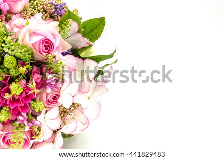 Bridal bouquet in bright colors with green handle isolated on white background #441829483