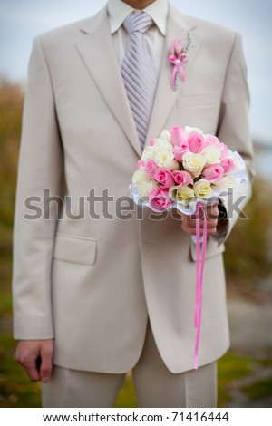 stock photo bridal bouquet of white and pink roses