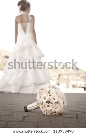 Bridal bouquet on the ground