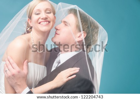 Bridal couple have a happy time under a veil, blue background