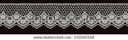 bridal floral white lace band isolated over black background