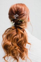 Bridal Hair Redheaded Woman Flowers