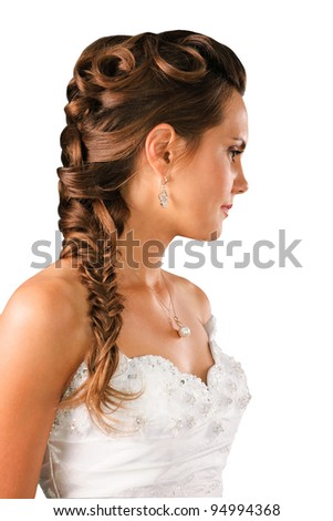 bridal hairdo with a plate isolated on white background