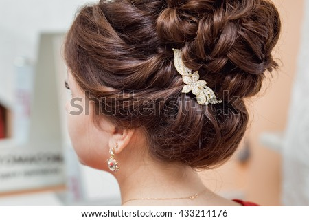 bridal hairstyle with vintage...
