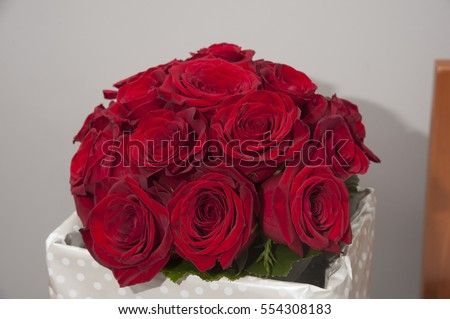 bridal red roses bouquet #554308183