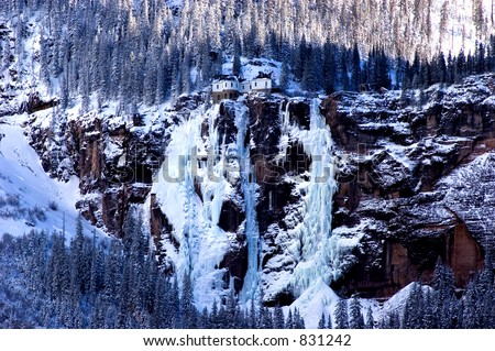 Bridal Veil Falls and Powerhouse in winter
