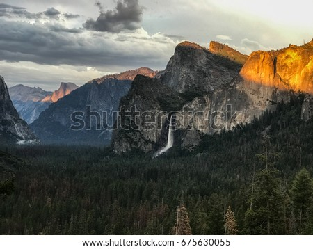 Bridal Veil Falls from Tunnel View in Yosemite National Park