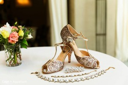 Bridal wedding white Sandals Shoes and jewelry