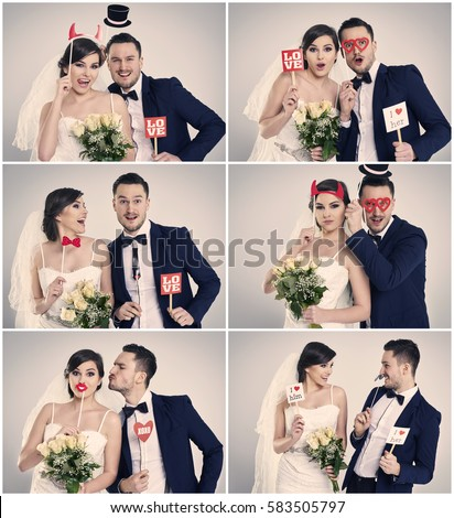 Bride and bridegroom making funny faces 