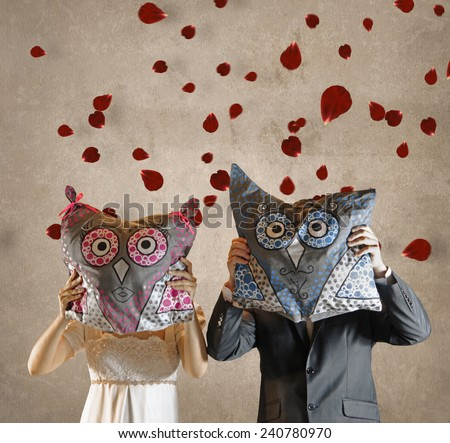 Bride and Bridegroom with Owl Pillows in Front of Faces and Falling Rose Petals on Wedding Background