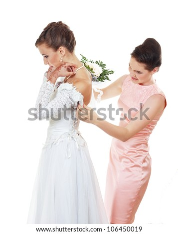 Bride and Bridesmaid on white background in white and pink wedding dress