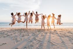 Bride and Bridesmaid to jump