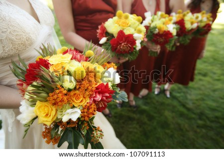 Bride and Bridesmaids with Bouquets at a Wedding