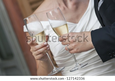 bride and groom at their wedding toast
