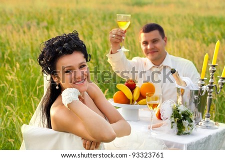 Bride and groom at wedding table on the field