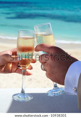 Bride And Groom Celebrating Their Marriage With Champagne