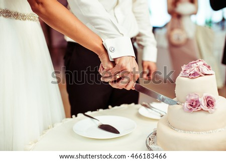 Bride and groom cut rich wedding cake decorated with pastel pink roses #466183466