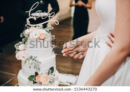 Bride and groom cutting stylish wedding cake at wedding reception in restaurant. Wedding couple holding knife and cutting together wedding cake decorated with flowers