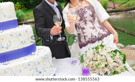 bride and groom drink  - stock photo