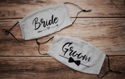 Bride and groom face masks for wedding