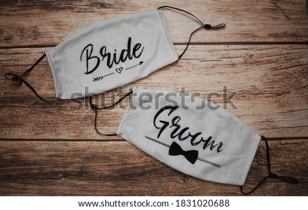 Bride and groom face masks for wedding Stock foto ©