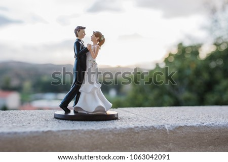 bride and groom figurines on the wedding cake