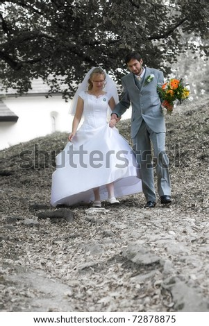Bride and groom going down from downhill - stock photo
