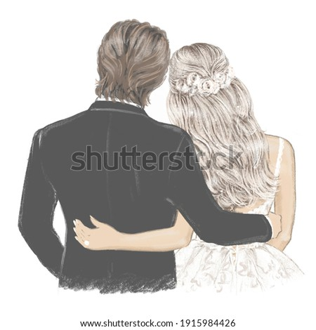 Bride and Groom hand drawn Illustration. Beautiful couple in Wedding day Сток-фото ©
