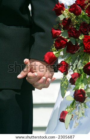 Bride and Groom Holding Hands with Red Rodes