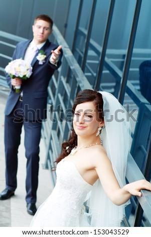 Bride and groom hugging outdoor real people