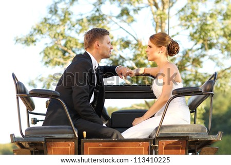 bride and groom in a chariot