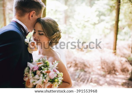 Shutterstock Bride and groom in a park kissing.couple newlyweds bride and groom at a wedding in nature green forest are kissing photo portrait.Wedding Couple