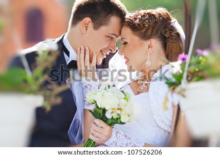 bride and groom in love