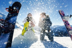 bride and groom in love blow snow background of the Alps Courchevel