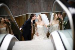 bride and groom in metro