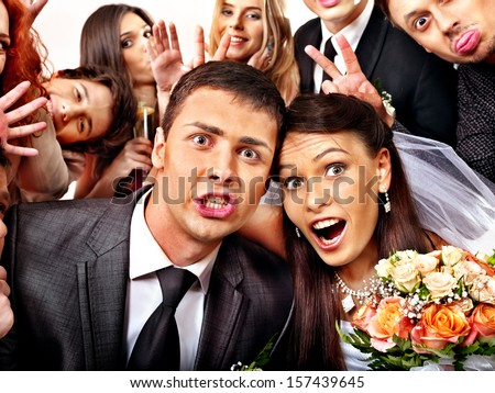 Bride and groom in photo-booth Wedding