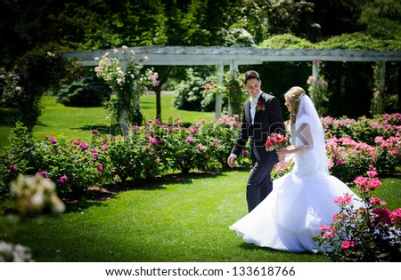 Bride and groom in the park