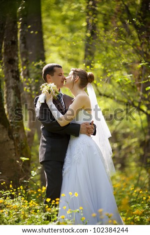 Bride and groom in the summer forest