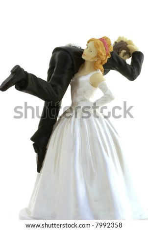 Bride and groom, isolated on white background.
