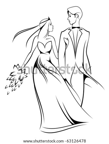 Bride and groom isolated on white for marriage ceremony design. Vector version also available in gallery