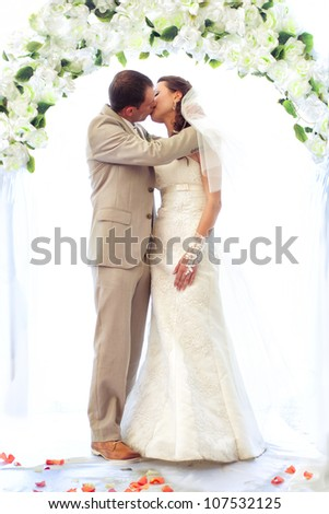 Bride and groom kissing close-up - stock photo