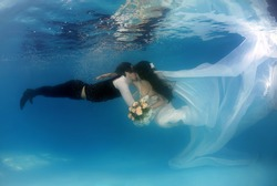 Bride and groom kissing under water in the pool