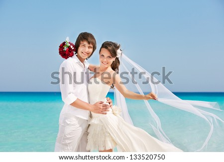 Bride and groom on a romantic place