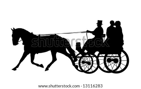 stock photo : bride and groom on horse and carriage